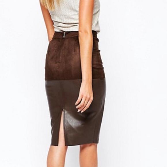 db163211a9 River Island Faux Leather Mix Pencil Skirt. M_5c3bc1d72beb7998c6792841